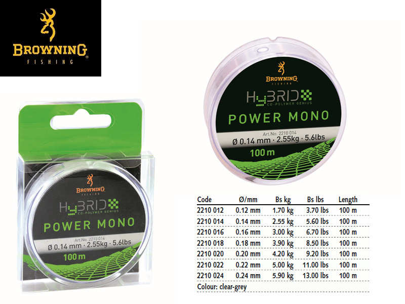 Browning Hybrid Power Mono (Ø:0.22mm, Length: 100m)