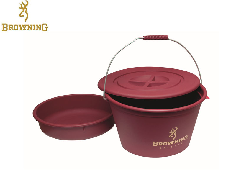 Browning Groundbait Bucket with lid and bowl (30 Liters)