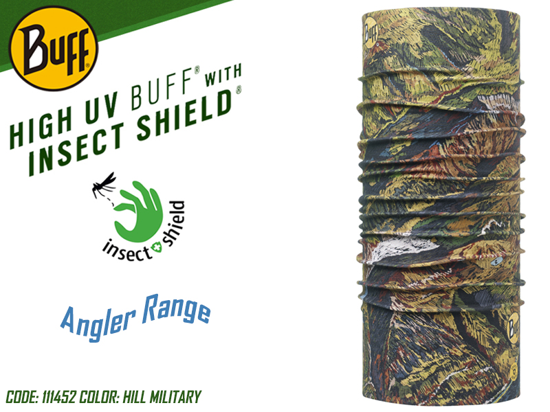BUFF Angler Range High UV with Insect Shield (Color: 111452 Hill Military)