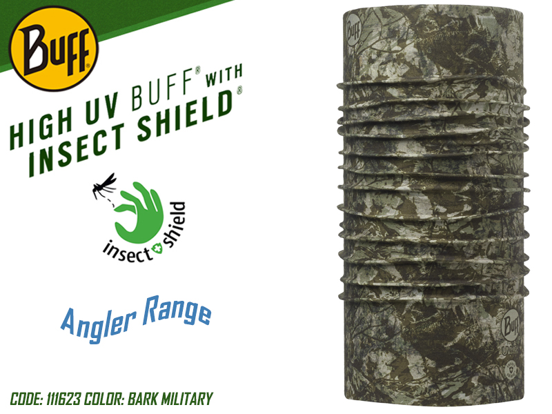 BUFF Angler Range High UV with Insect Shield (Color: 111623 Bark Military)