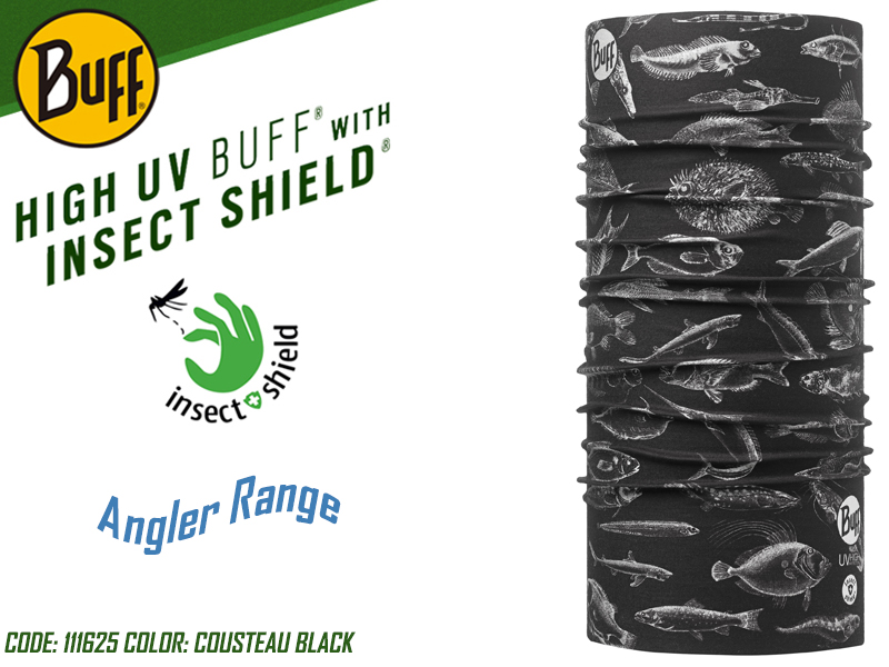 BUFF Angler Range High UV with Insect Shield (Color: 111625 Cousteau Black)