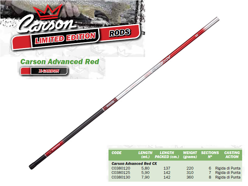 Carson Advanced Red CX Pole (Length:5.80m, Weight: 220gr)