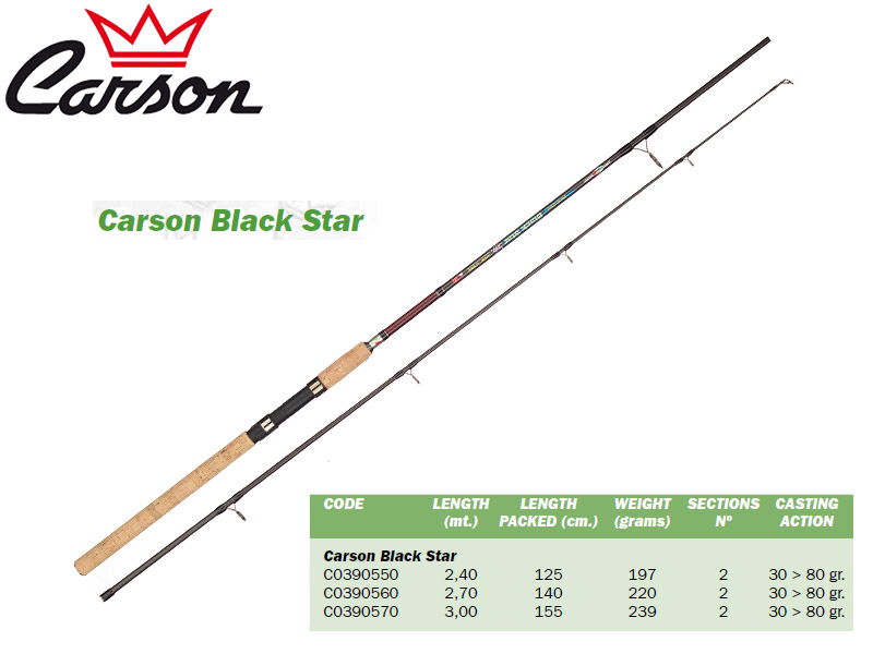Carson Black Star Rods (3.00m, Action: 30-80gr)