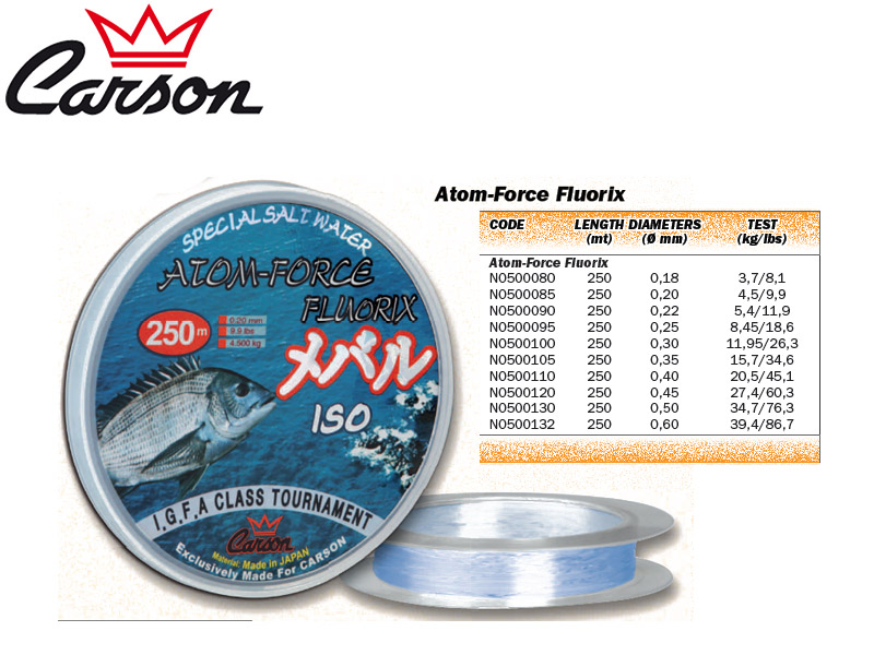 Carson Atom-Force Fluorix Lines (Size: 045mm, Test: 27,40kg/60,30lb, Length: 250m)