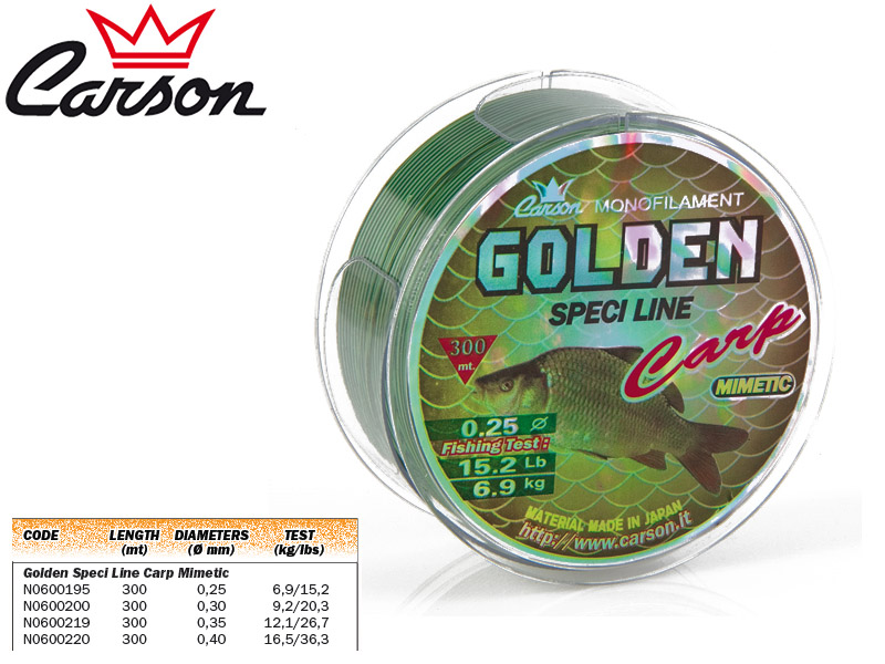 Carson Golden Speci Line Carp Mimetic (Size: 035mm, Test: 12,1kg /26,7lb, Length: 300m)