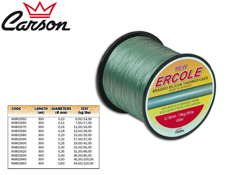 Carson Ercole Braided Lines (Size: 0,16mm, Test: 11,00kg/24,00lb, Length: 300m)