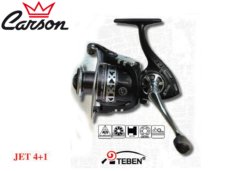 Carson Teben Jet-500 Reel (Model: JET, Size: 500, Capacity (mm/mt): 0.40/150, BB: 5, Weight: 365g, Ratio: 4,5:1)