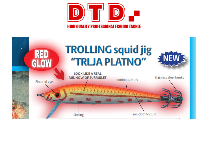 DTD Trolling Squid Jig Trlja Platno (Size:90mm, Colour: Natural Surmulet)