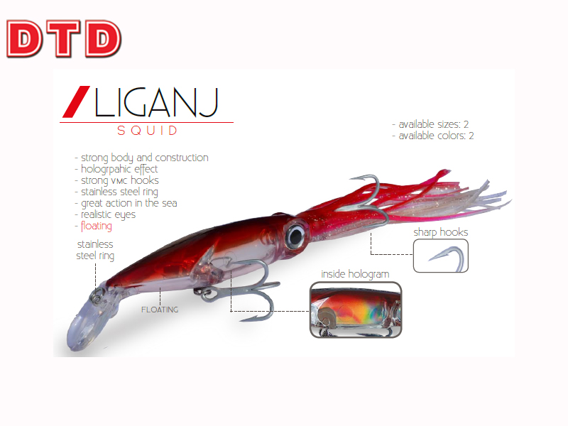 DTD Trolling Squid Liganj ( Size: 160mm, Weight: 28.0gr, Color: Red)