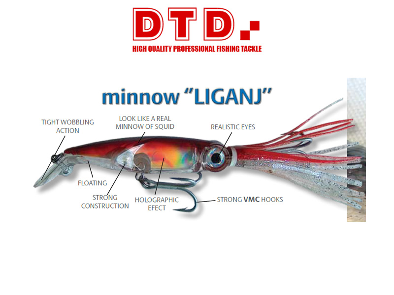 DTD Minnow Liganj (Length: 125mm, Colour: Red)