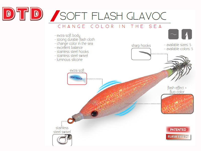 DTD Squid Jigs Soft Flash Glavoc (Size: 2.0, Color: Orange)