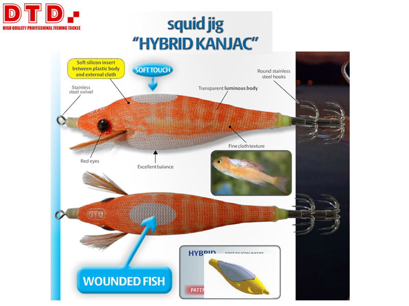 DTD Squid Jig Hybrid Kanjac (Size: 2.0, Colour: Gray)
