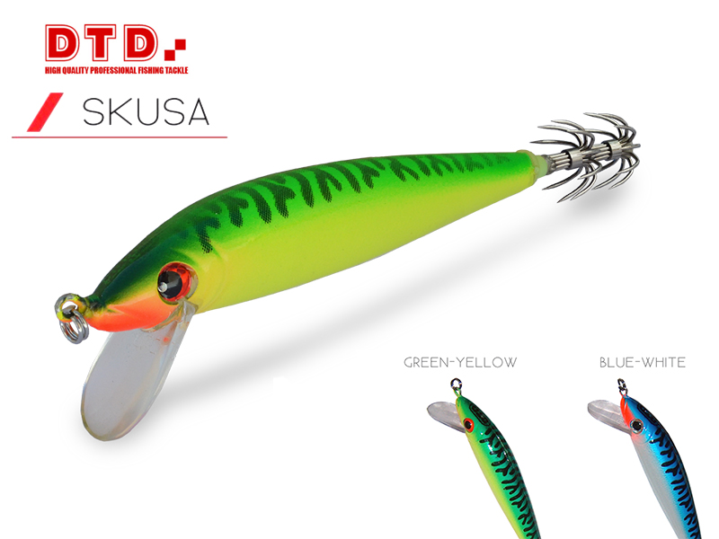DTD Trolling Squid Jig Skusa (Size: 90mm, Colour: Green Yellow)