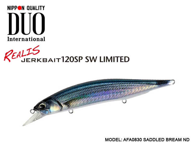 DUO Realis Jerkbait 120SP SW Limited (Length: 120mm, Weight: 18.2gr, Color: AFA0830 Saddled Bream ND)