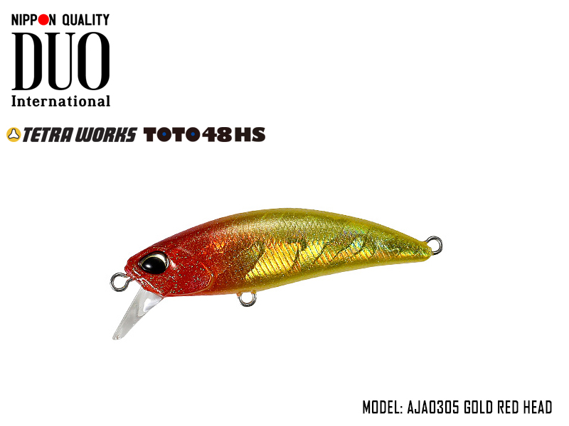 DUO Tetra Works ToTo 48HS (Length: 48mm, Weight: 4.3g, Color: AJA0305 Gold Red Head)
