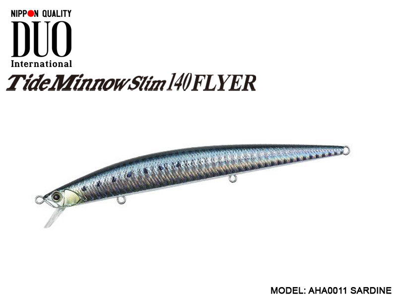 DUO Slim Tide Minnow 140 Flyer Lures (Length: 140mm, Weight: 21g, Model: AHA0011 Sardine)