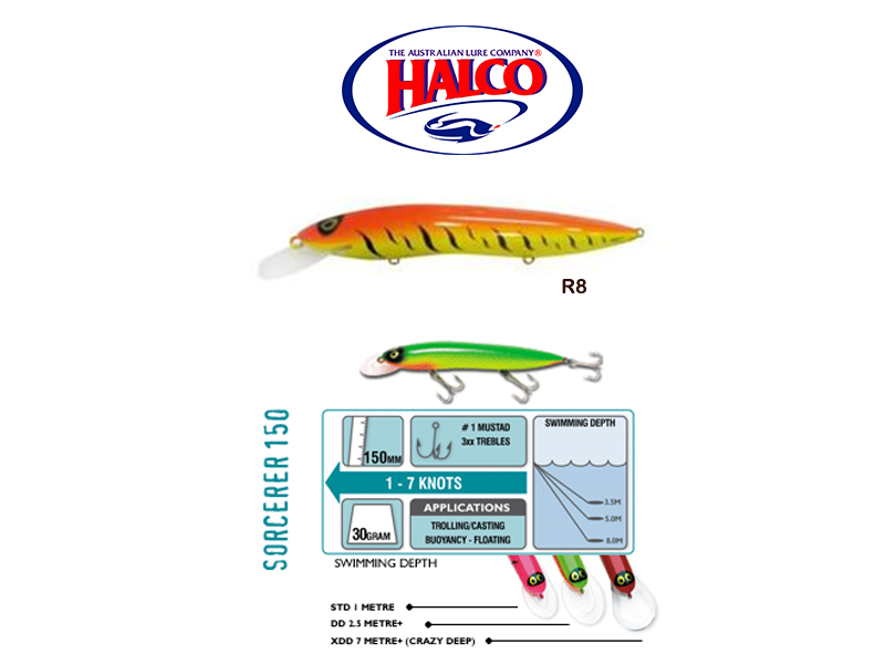Halco Sorcerer 150XDD (150mm, 30g, Color: R8)