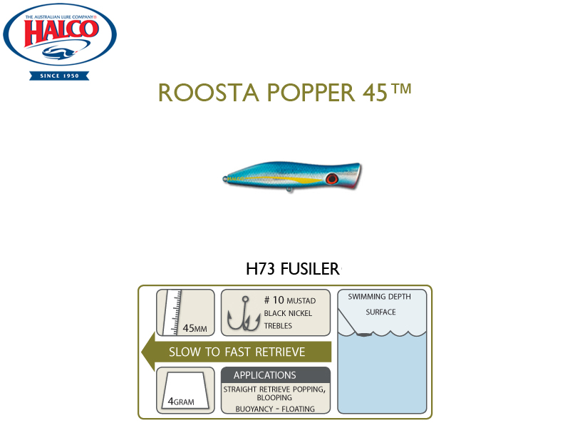 Halco Roosta Popper 45 (Length: 45mm, Weight: 4gr, Color: H73)