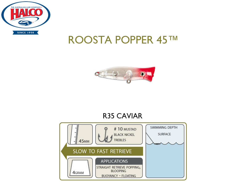 Halco Roosta Popper 45 (Length: 45mm, Weight: 4gr, Color: R35)