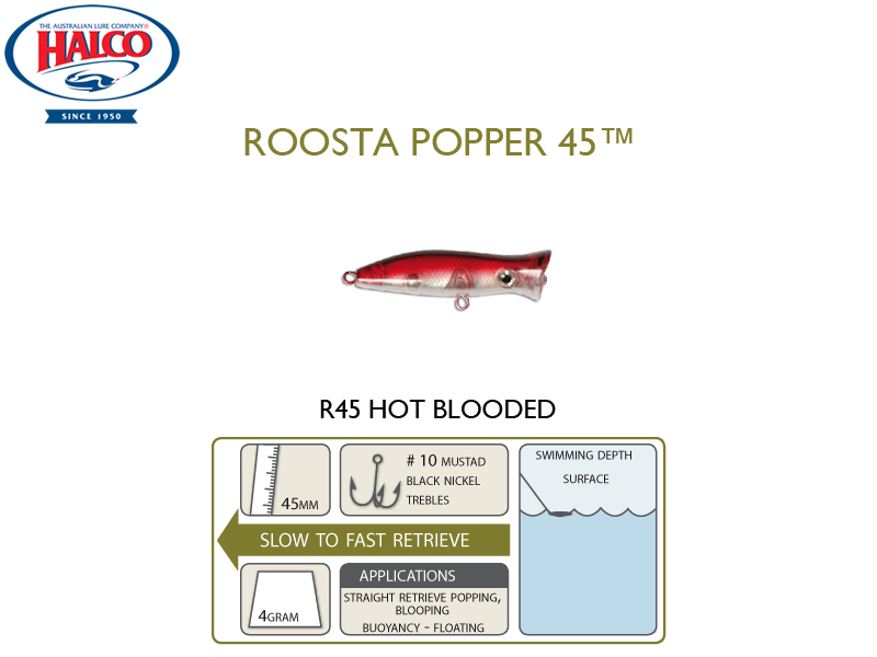 Halco Roosta Popper 45 (Length: 45mm, Weight: 4gr, Color: R45)