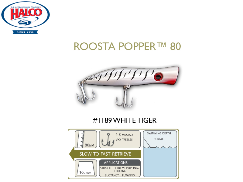 Halco Roosta Popper 80 (Length: 80mm, Weight: 16gr, Color: 1189)