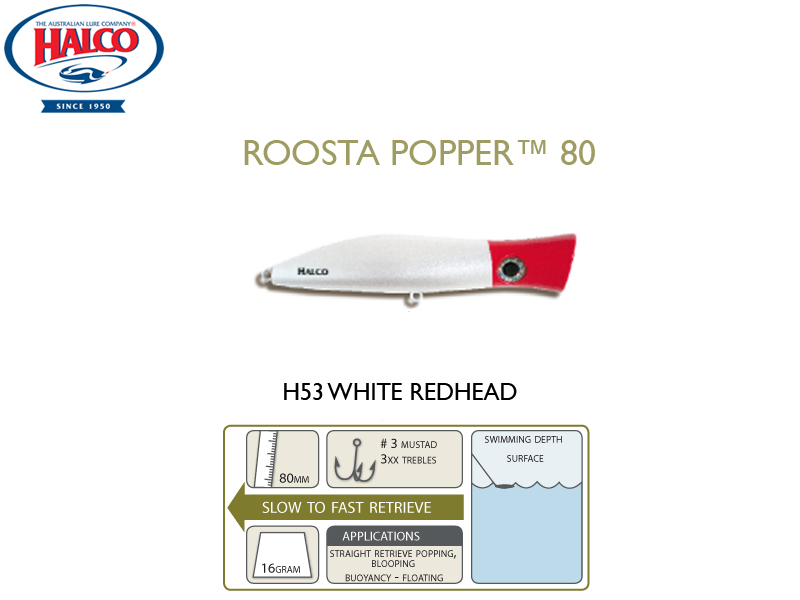 Halco Roosta Popper 80 (Length: 80mm, Weight: 16gr, Color: H53)