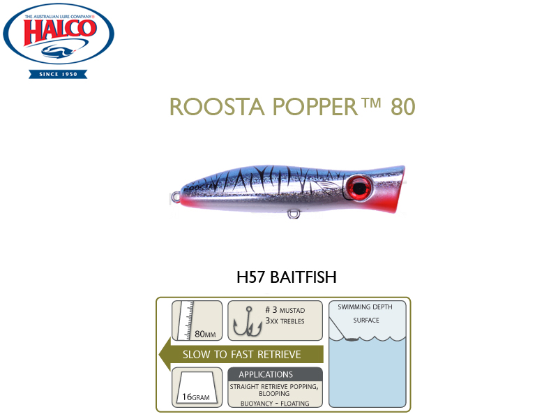 Halco Roosta Popper 80 (Length: 80mm, Weight: 16gr, Color: H57)