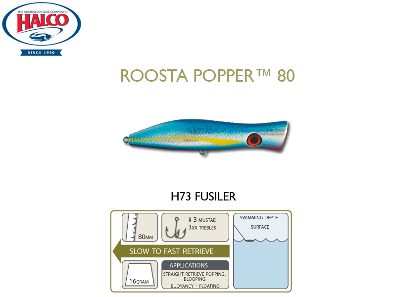Halco Roosta Popper 80 (Length: 80mm, Weight: 16gr, Color: H73)