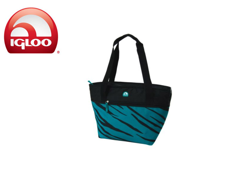 Igloo Cooler Shopper Tote 30 - Animal Print (TealZebra, 30 Cans/ 19 Liters)
