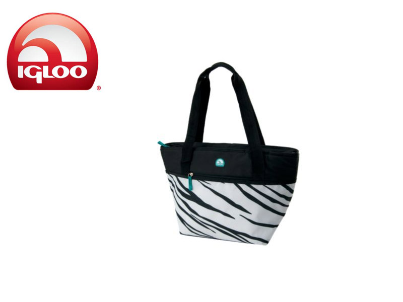 Igloo Cooler Shopper Tote 30 - Animal Print (Zebra, 30 Cans/ 19 Liters)