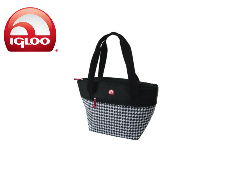 Igloo Cooler Shopper Tote 30 - Black & White (Houndstooth Black, 30 Cans/ 19 Liters)