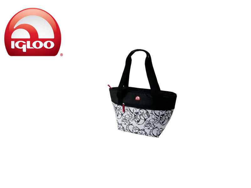 Igloo Cooler Shopper Tote 30 - Black & White (Damask, 30 Cans/ 19 Liters)