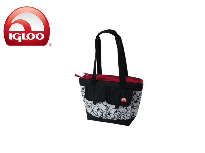Igloo Cooler Dual Compartment 24 - Black & White (Damask, 24 Cans/ 18 Liters)