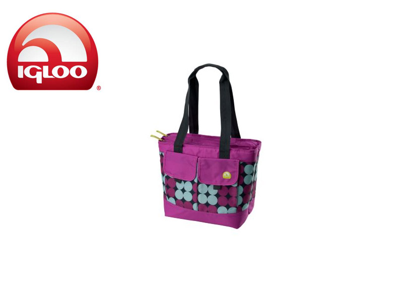 Igloo Cooler Dual Compartment 24 - Polka Dots (Pink, 24 Cans/ 18 Liters)