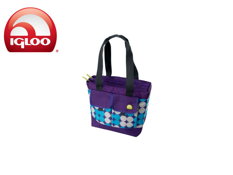 Igloo Cooler Dual Compartment 24 - Polka Dots (Purple, 24 Cans/ 18 Liters)