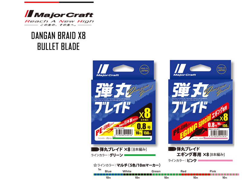 Major Craft Dangan Braid X8 (P.E: 1.2, Length: 200mt, Color: Multi Color)