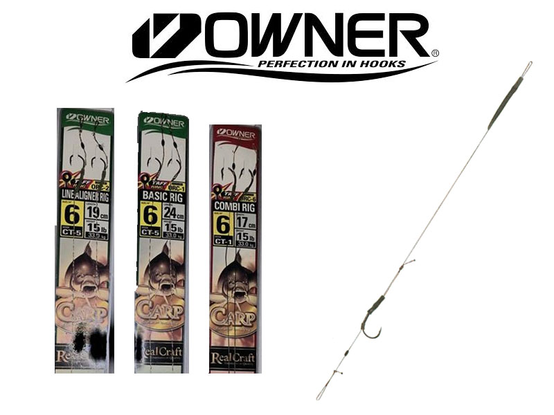 Owner Carp Basic Rig (Hook SIze: 4, Line Weight: 25lb, Length: 24cm, 2pcs)