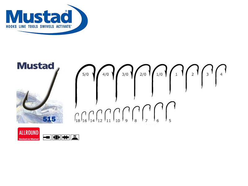 Mustad 515N Hollow Point Limerick (Size: 18, Pack: 50)
