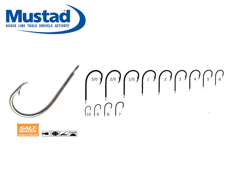Mustad 528AD Hollow Point Round Hooks (Size: 4, Pack: 50)