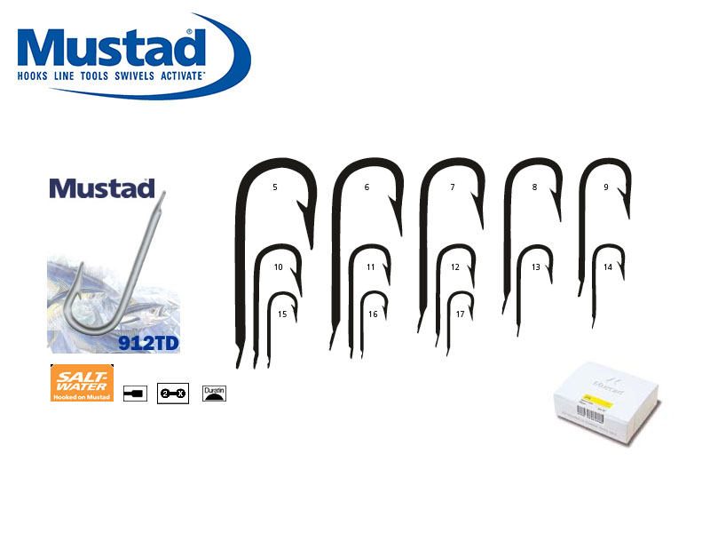 Mustad 912TD Round Bend Sea Hooks (Size: 5, Pack: 100)