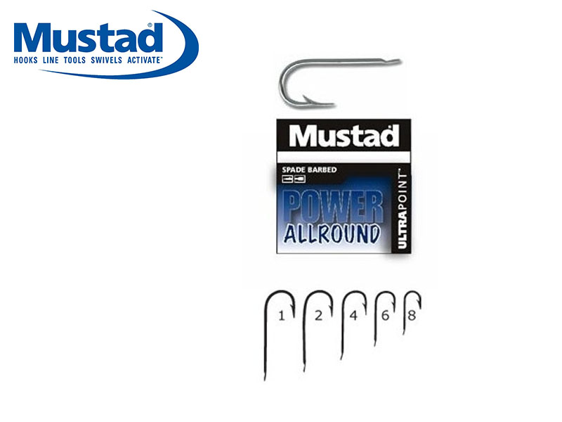 Mustad 1251NPN Power Allround Hooks (Size: 2, Pack: 10)