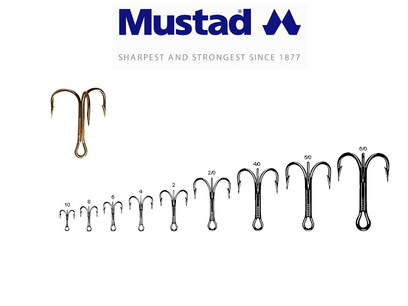 Mustad 3551 Classic Treble Hooks (Size: 5/0, Pack: 25)