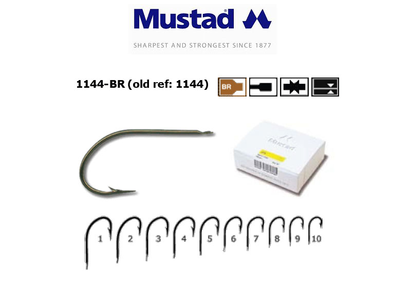 Mustad 1144-BR Hollow Point Kirby Limerick (Size: 2, Pack: 100)