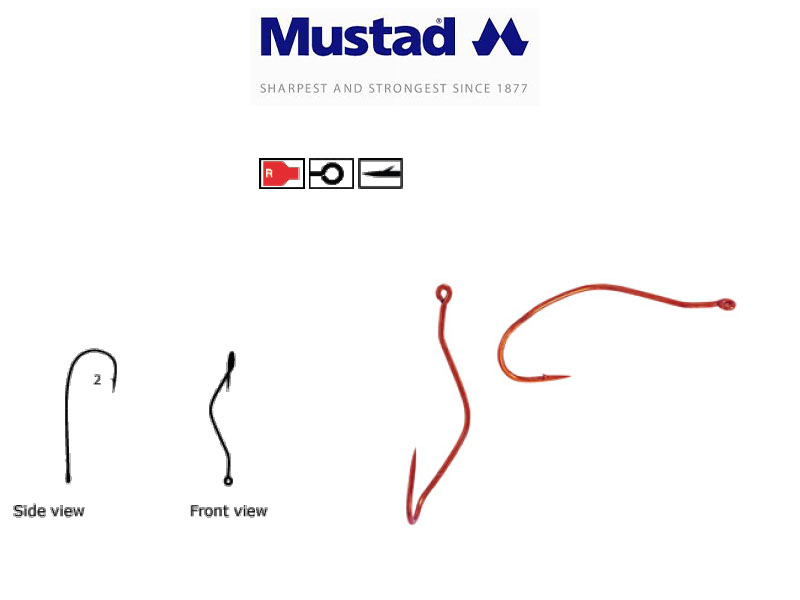 Mustad 33862NP-RB Ultra Point Slow Death Hooks (Size: 4, Pack: 10)