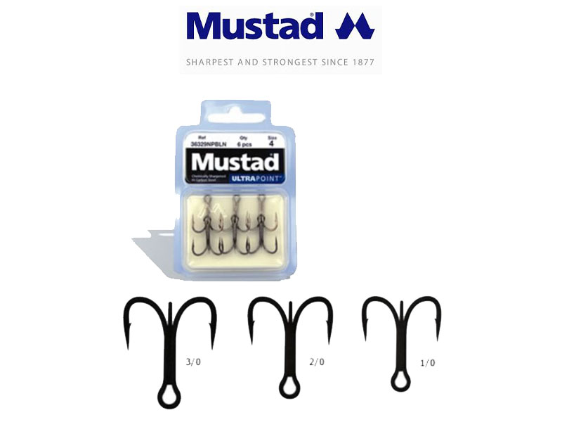 Mustad 36329NPBLN Forged Treble (Size: 2/0, Pack: 6)