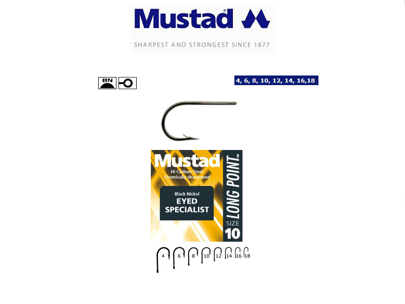 Mustad Black Nickel Eyed Specialist Hooks (Size: 6, Pack: 10)