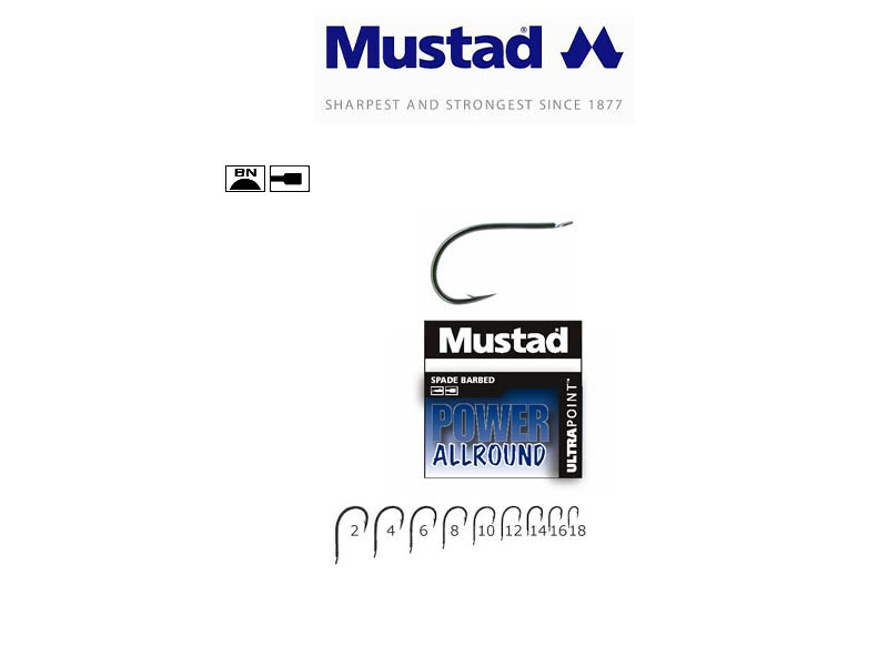 Mustad 60151NPBLN Power Allround Hooks (Size: 16, Pack: 10)