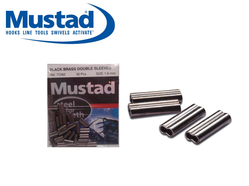 Mustad Black Brass Sleeve Doubles (&#8960: 1.9mm, Length: 5mm, 20pcs)