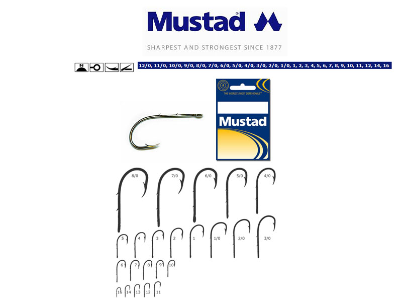 Mustad 92247 Baitholder Hooks (Size: 1/0, Colour: Nickel, Pack:7)