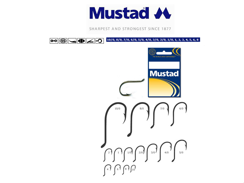 Mustad Beak Hooks with extra long point (Size: 6/0, Pack: 5)